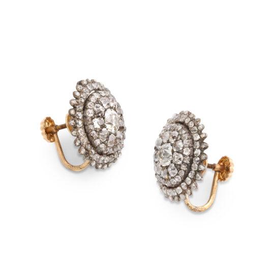 side view, Georgian Diamond Cluster Earrings