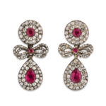 main view, Georgian Diamond and Ruby Earrings