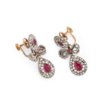 side view, Georgian Diamond and Ruby Earrings