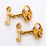Victorian Gold Padlock and Key Cufflinks