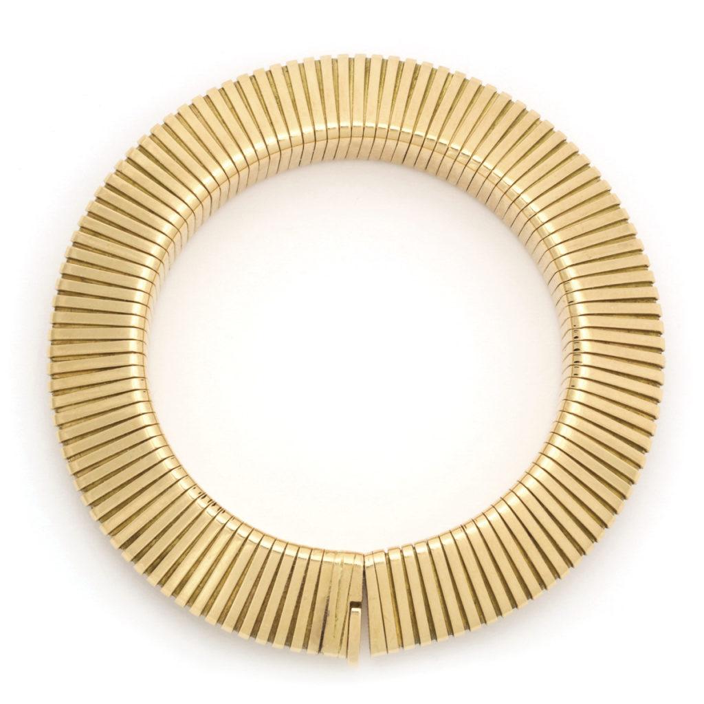 main view, Retro Cartier Gold Gaspipe Bracelet