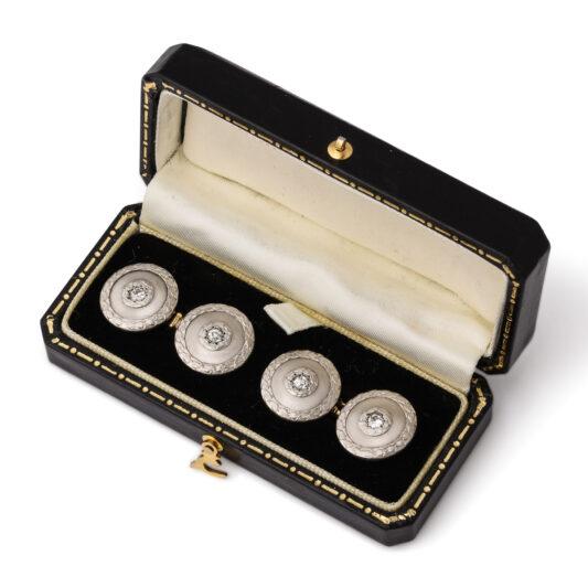 box view, Circular Platinum and Diamond Cufflinks