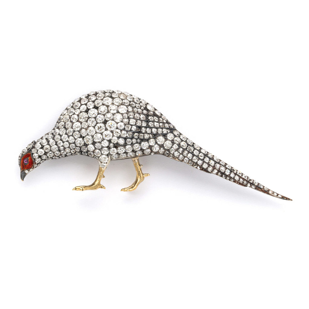 main view, Victorian Diamond Pheasant Brooch