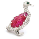 main view, 1920s Diamond and Carved Ruby Duck Brooch