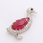 1920s Diamond and Ruby Duck Brooch