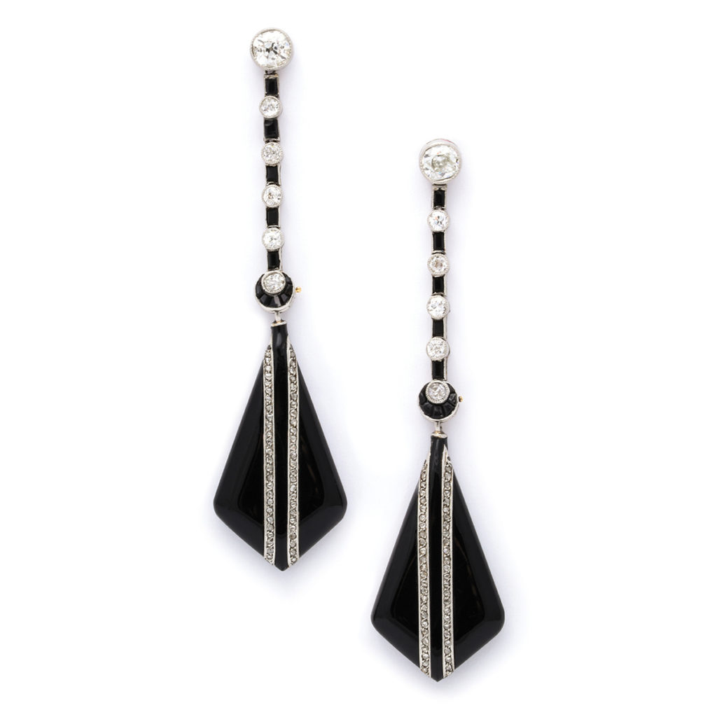 main view, 1950s Onyx and Diamond Drop Earrings