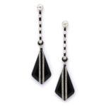 main view, 1950s Onyx and Diamond Drop Earrings