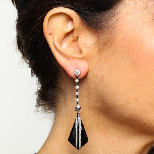 Model wearing 1950s Onyx and Diamond Drop Earrings