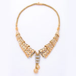main view, 1950s Gold and Diamond Collar Necklace