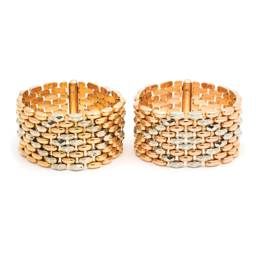 main view, Pair of 1950s Two-Color Gold Bracelets