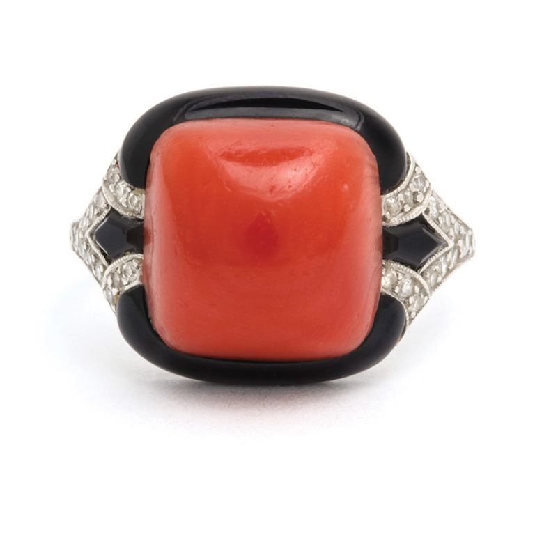 main view, 1920s Oxblood Coral, Diamond, and Enamel Ring