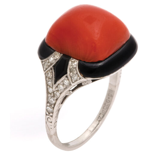 other view, 1920s Oxblood Coral, Diamond, and Enamel Ring