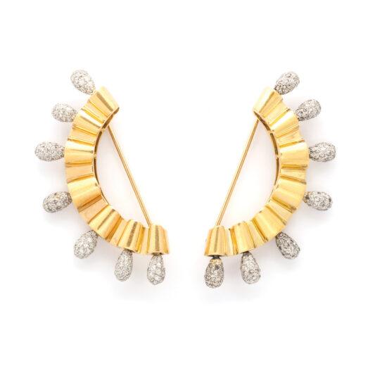 main view, 1950s Gold and Diamond Dress Pins