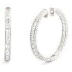 main view, 1950s Diamond Hoop Earrings