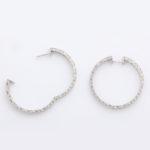 other view, 1950s Diamond Hoop Earrings