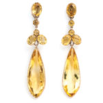 main view, Victorian Citrine Long Pendant Earrings