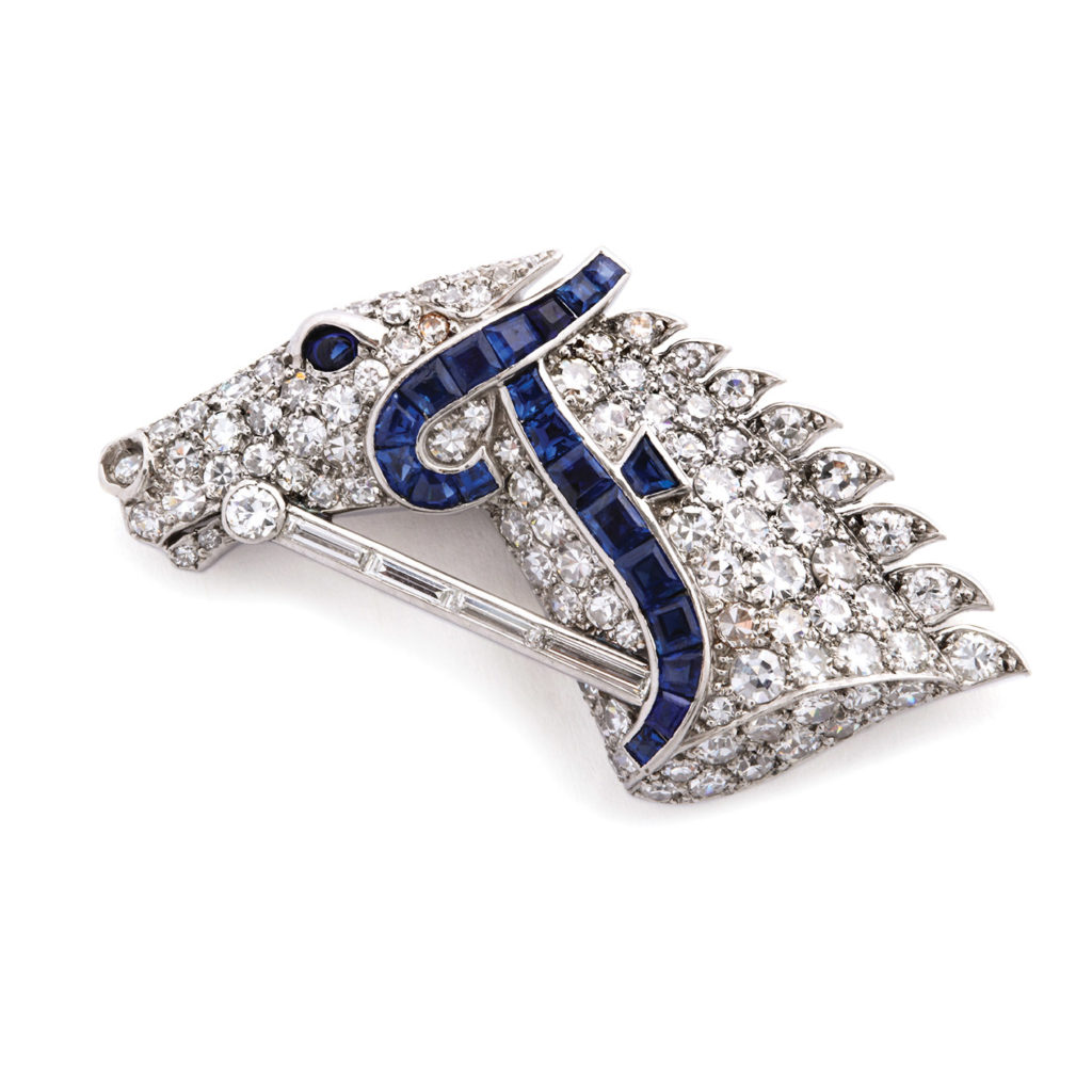 main view, 1920s Diamond and Sapphire Horse Head Brooch by Cartier