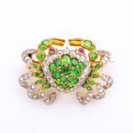 Edwardian Demantoid Garnet and Diamond Crab Brooch