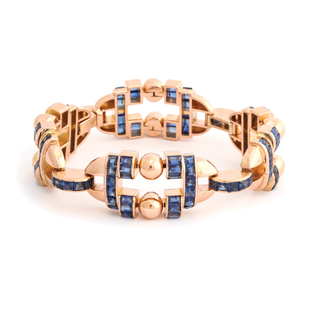 main view, 1950s Sapphire and 18k Gold Bracelet by Gübelin