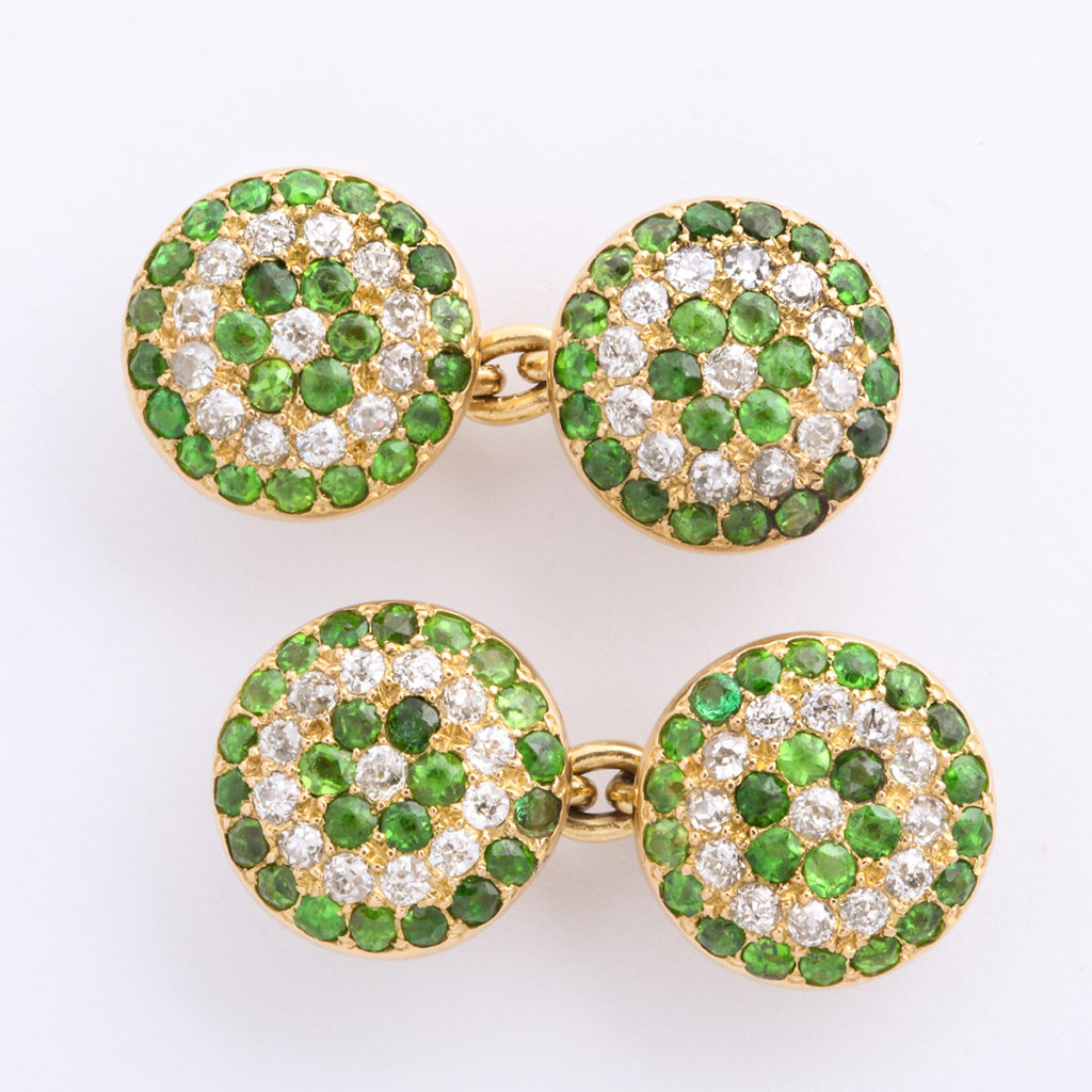 Victorian Demantoid Garnet and Diamond Double Cufflinks