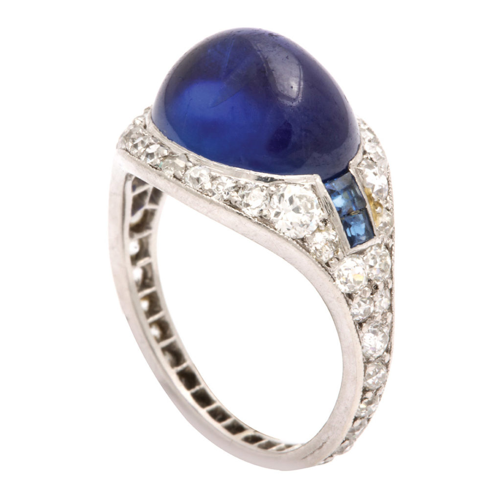 main view, Antique Sapphire and Diamond Ring by Cartier Paris