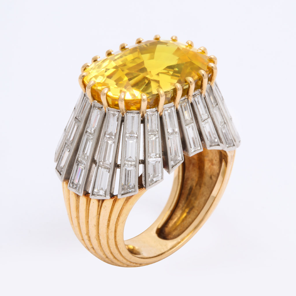 yellow sapphire and diamond ring, view 1