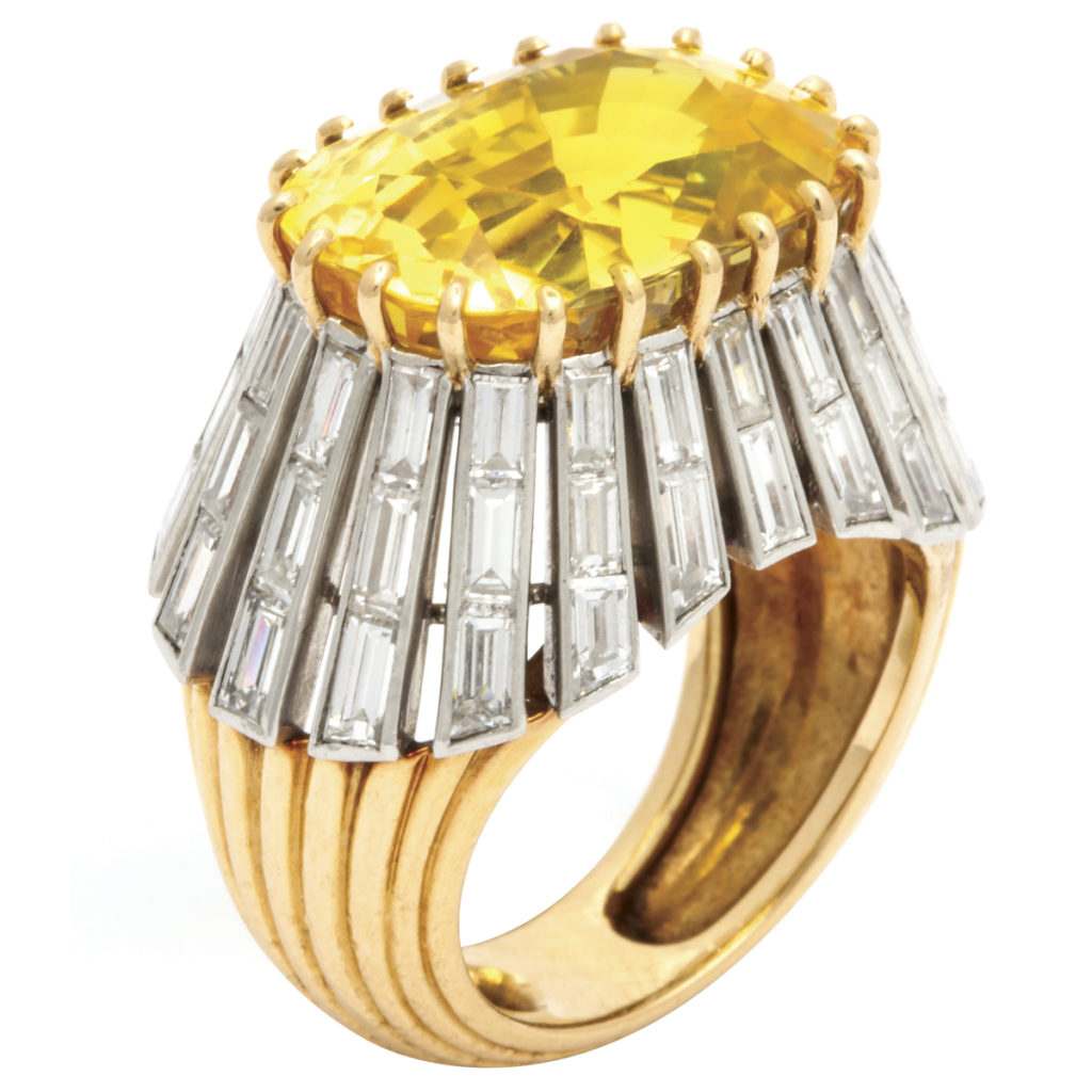 main view, 1950s Yellow Sapphire and Diamond Ring by Cartier Paris