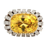 top view, 1950s Yellow Sapphire and Diamond Ring by Cartier Paris