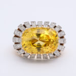 yellow sapphire ring, top view