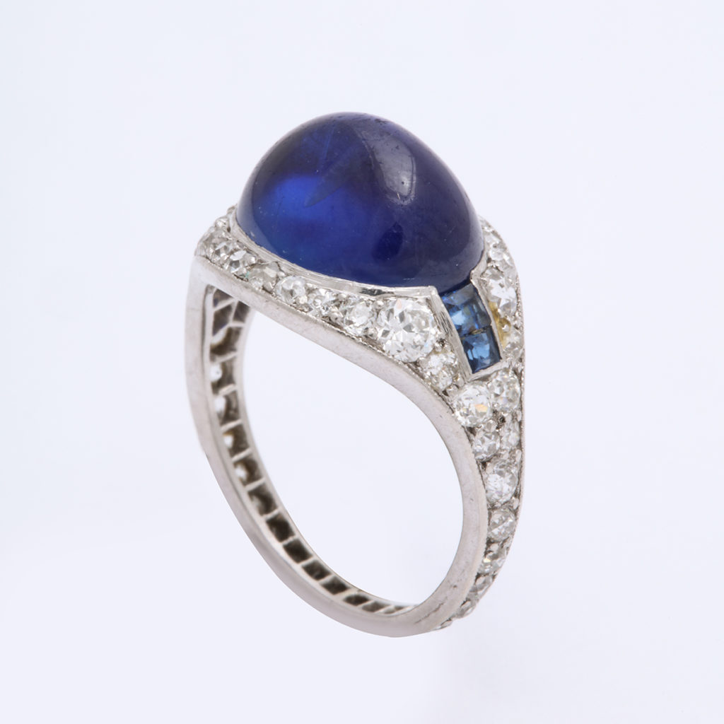 Antique Sapphire and Diamond Ring by Cartier Paris, side view