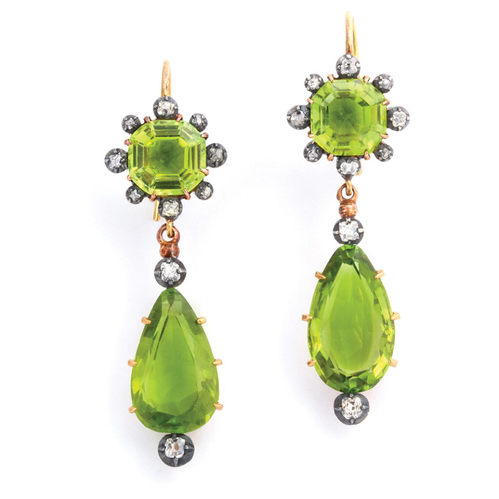 main view, Victorian Peridot and Diamond Pendant Earrings