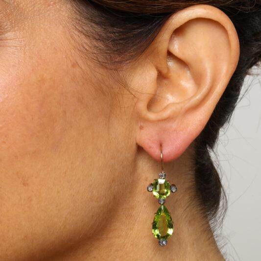 Model wearing Victorian Peridot and Diamond Pendant Earrings