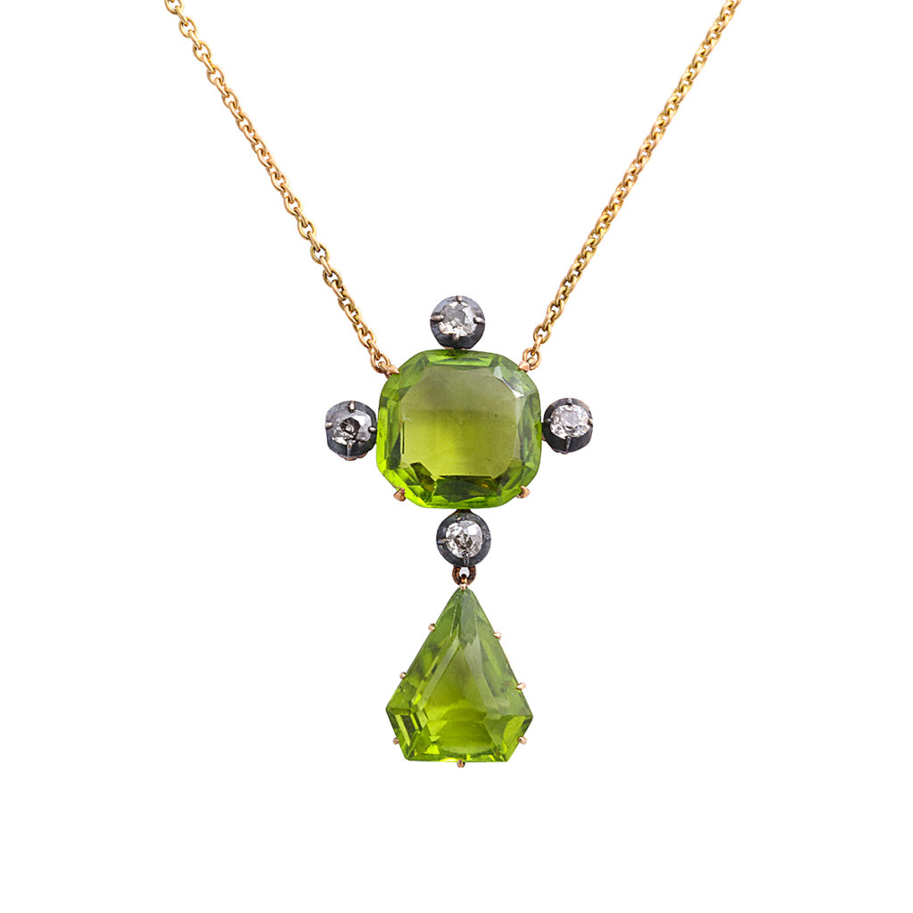 main view, Victorian Peridot and Diamond Pendant