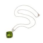 chain view, Peridot and Diamond Pendant