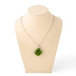 on neck block, Peridot and Diamond Pendant