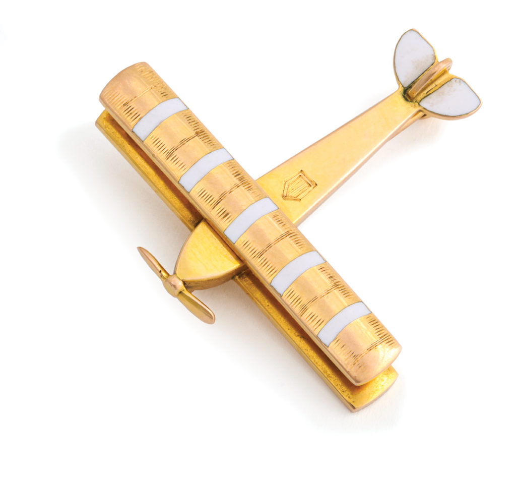 main view, Antique Gold Airplane Brooch