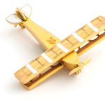 other view, Antique Gold Airplane Brooch