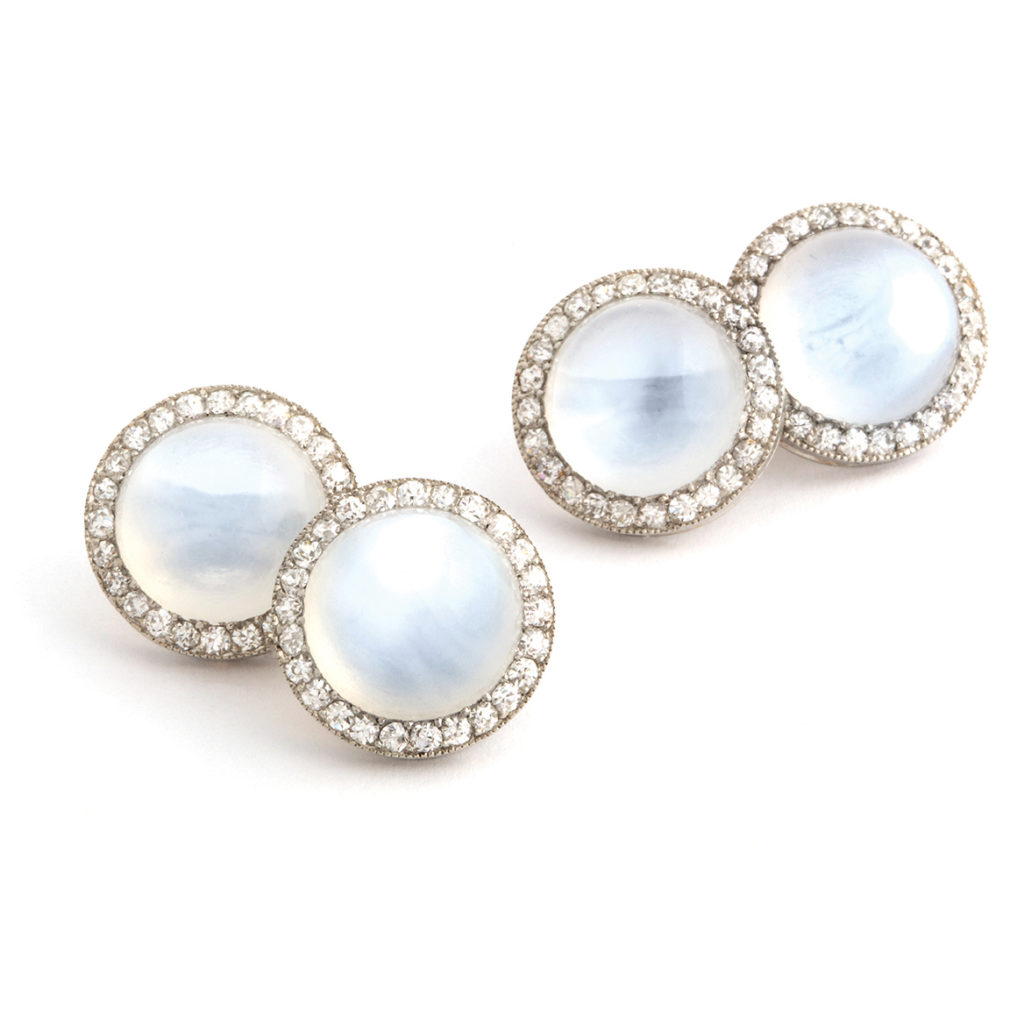 main view, 1920s Moonstone and Diamond Cufflinks