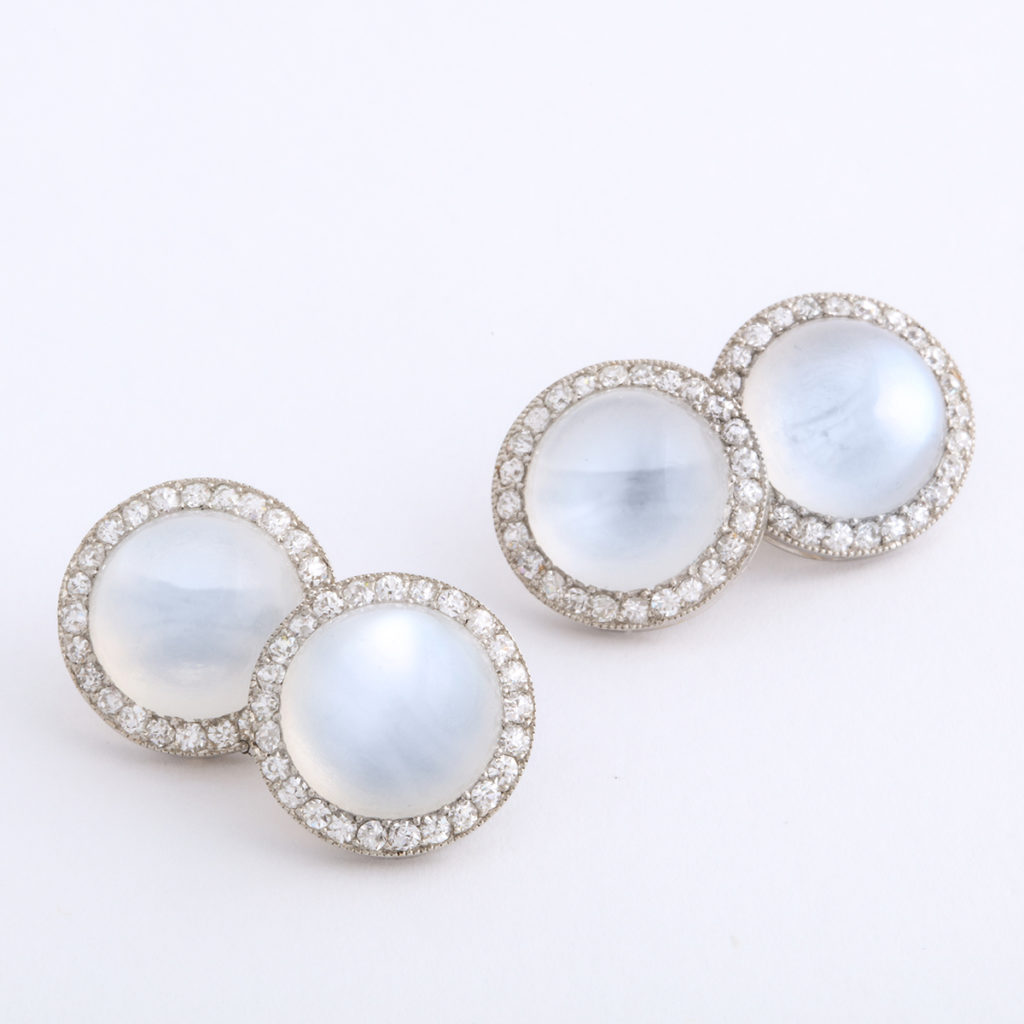 1920s Moonstone and Diamond Cufflinks