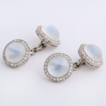 other view, 1920s Moonstone and Diamond Cufflinks