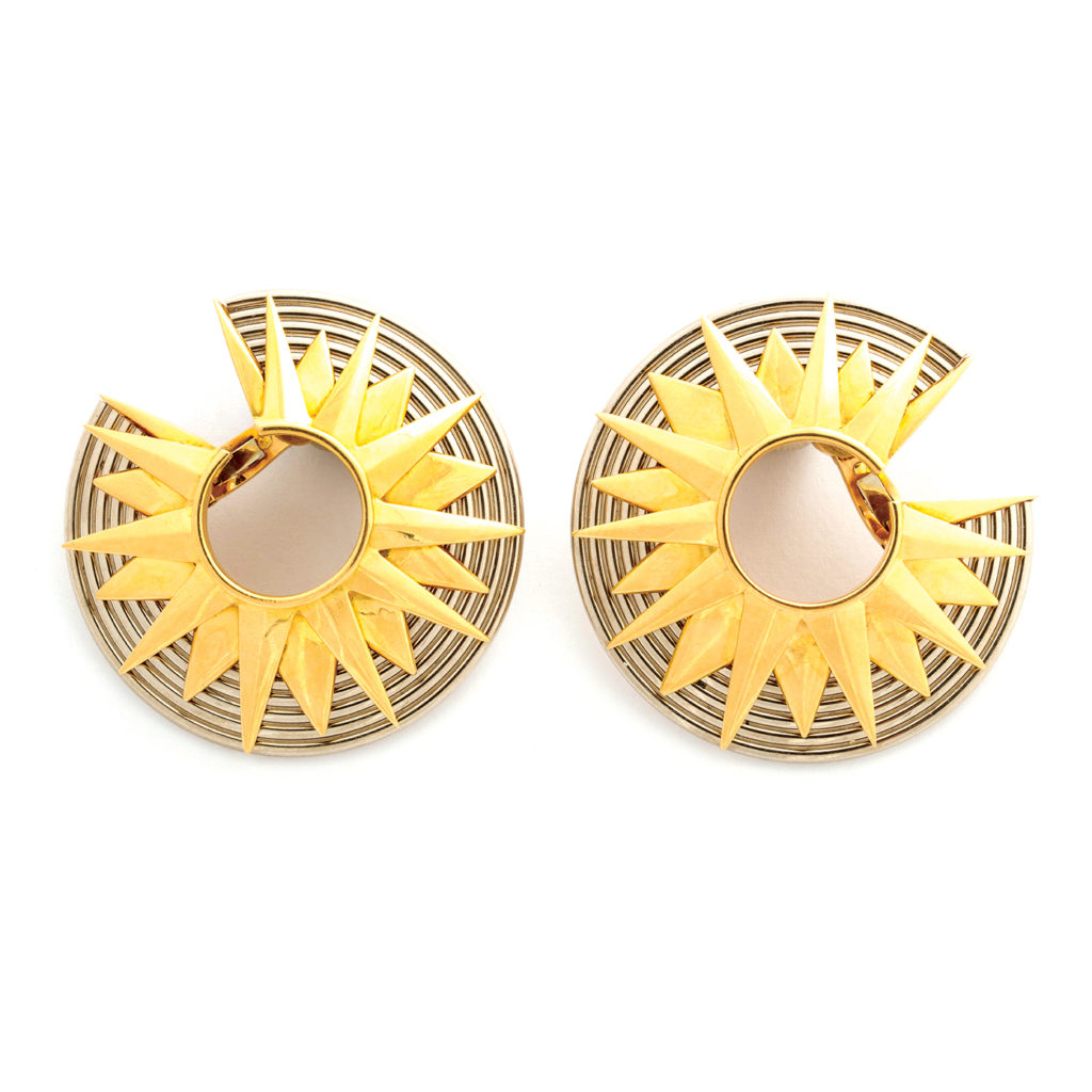 main view, 1960s Two-Color Gold Earrings