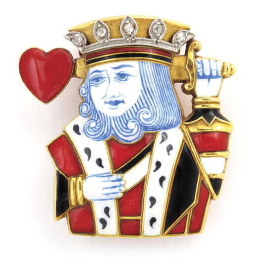 main view, King of Hearts Brooch by Cartier