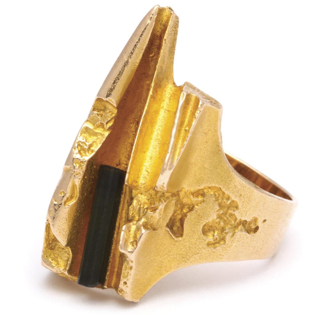 main view, 1970s Gold and Tourmaline Ring by Björn Weckström