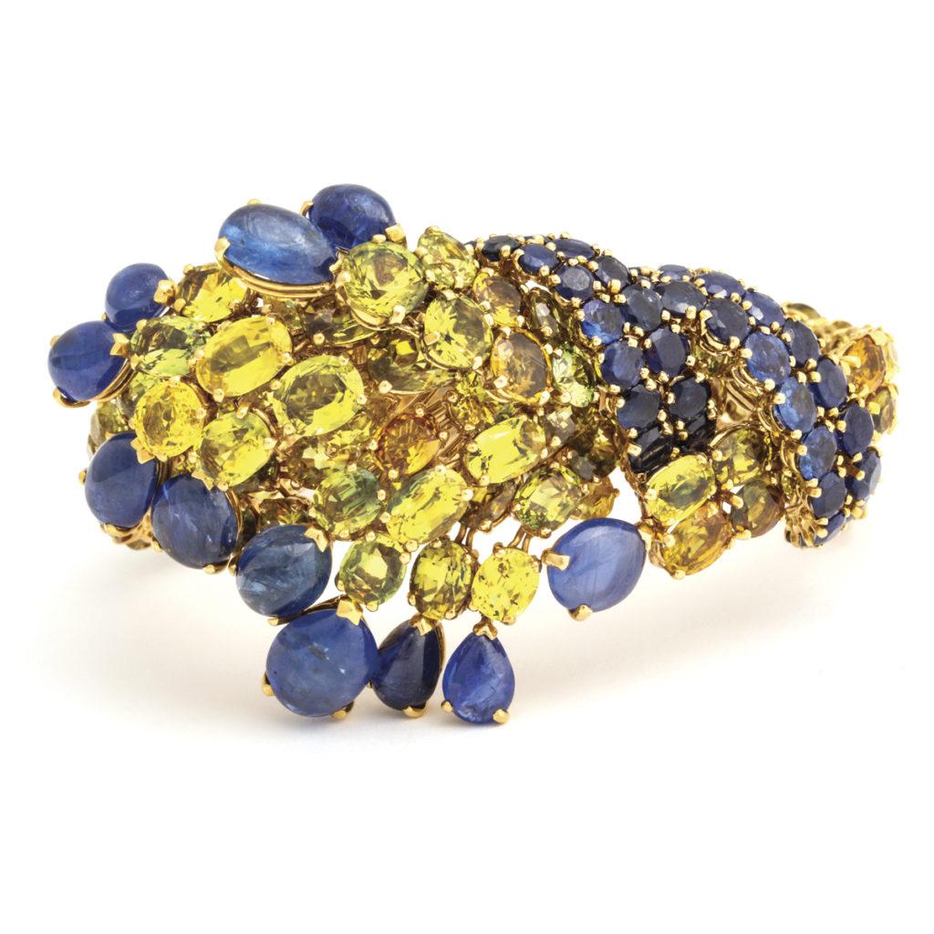 main view, 1970s Sapphire and Citrine Bracelet by Jean Été