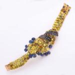 open, 1970s Sapphire and Citrine Bracelet by Jean Été