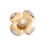 other view, 1960s Van Vleef & Arpels Gold and Diamond Flower Brooch