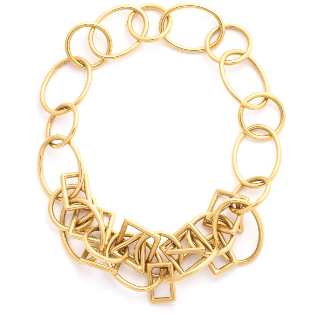main view, 1960s Gold Geometric Link Necklace and Bracelet