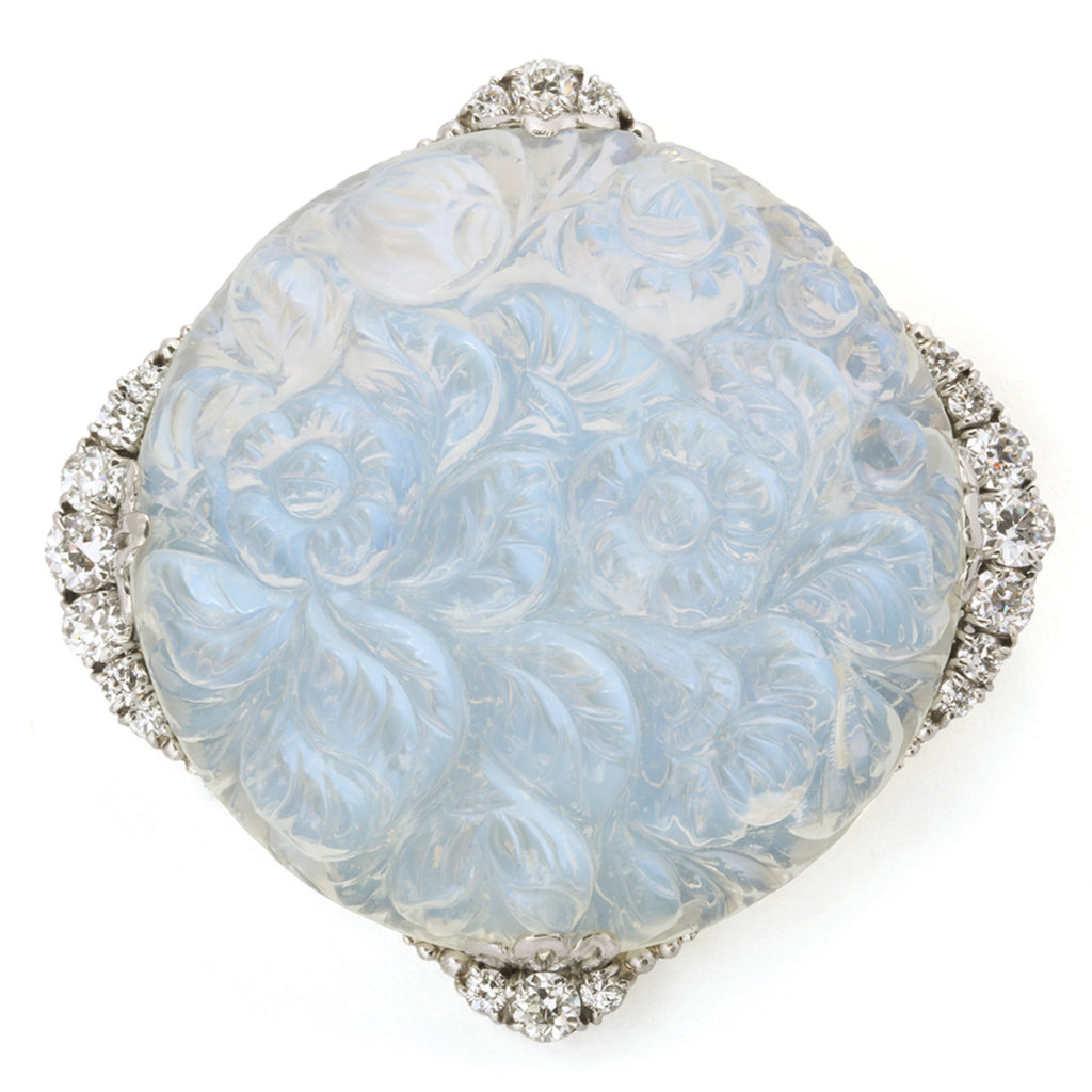 main view, Carved Moonstone and Diamond Brooch by Tiffany & Co.