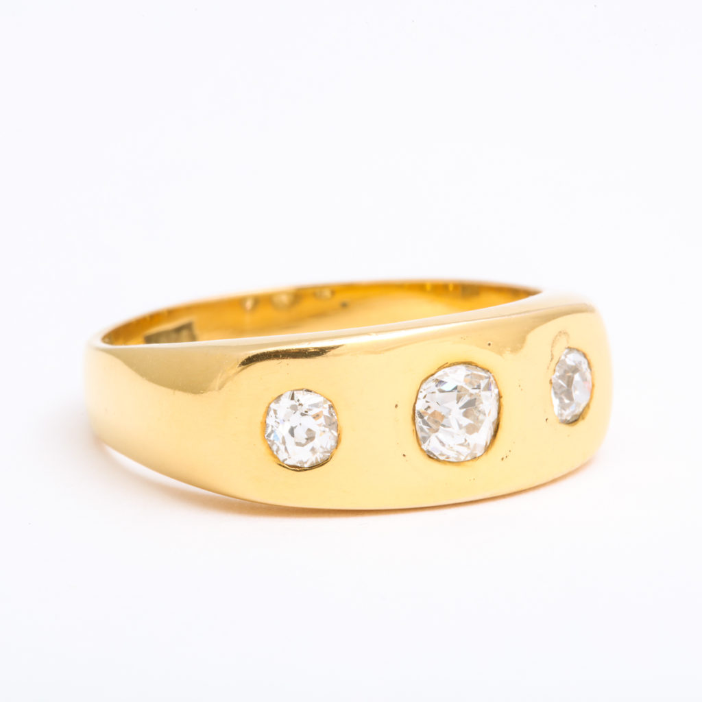 main view, 1950s Gold and Diamond Man's Ring