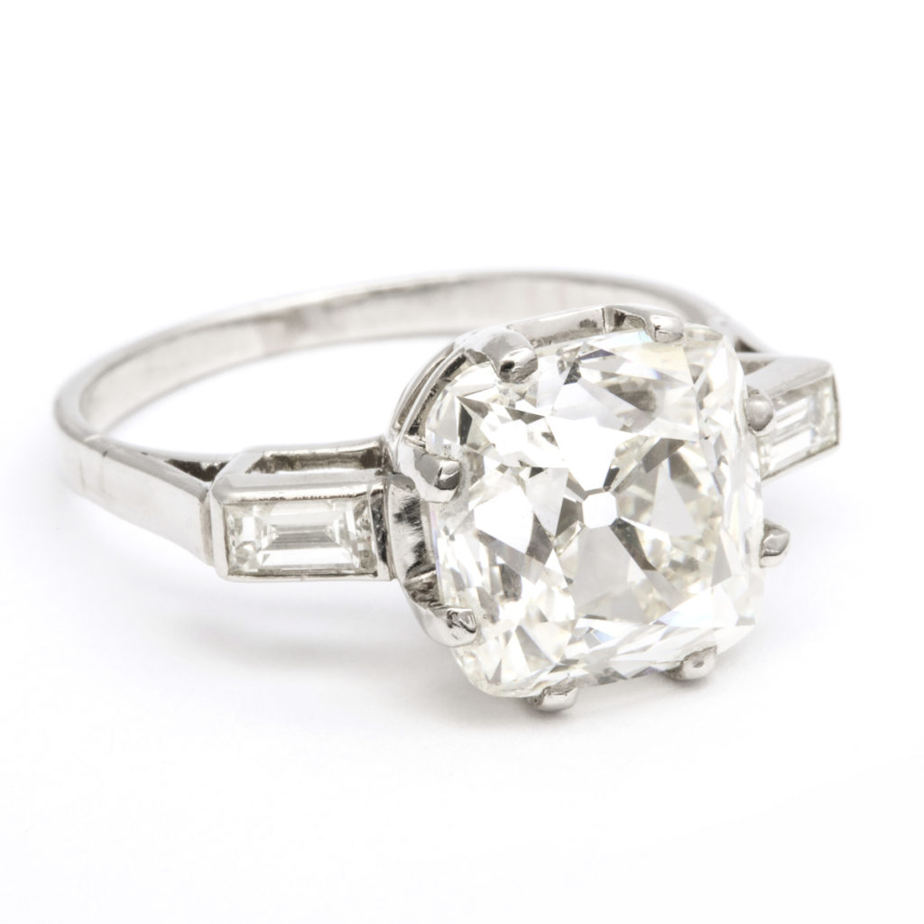 main view, 1950s Cushion-cut Diamond Engagement Ring